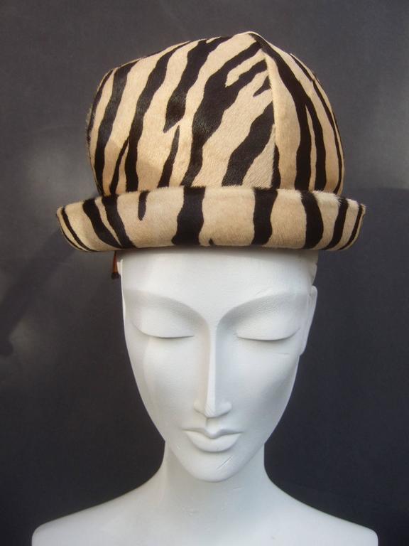Women's Saks Fifth Avenue Exotic Zebra Pony Hair Hat c 1970 For Sale