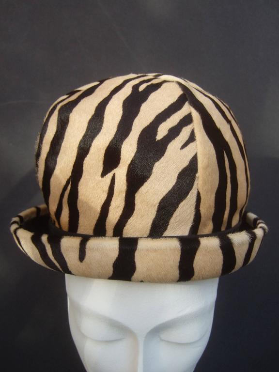 Saks Fifth Avenue Exotic Zebra Pony Hair Hat c 1970 For Sale 2