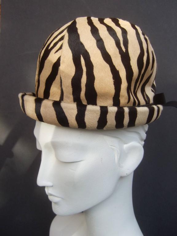Saks Fifth Avenue Exotic Zebra Pony Hair Hat c 1970 For Sale 1