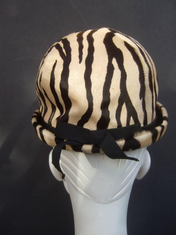 Saks Fifth Avenue Exotic Zebra Pony Hair Hat c 1970 For Sale 3