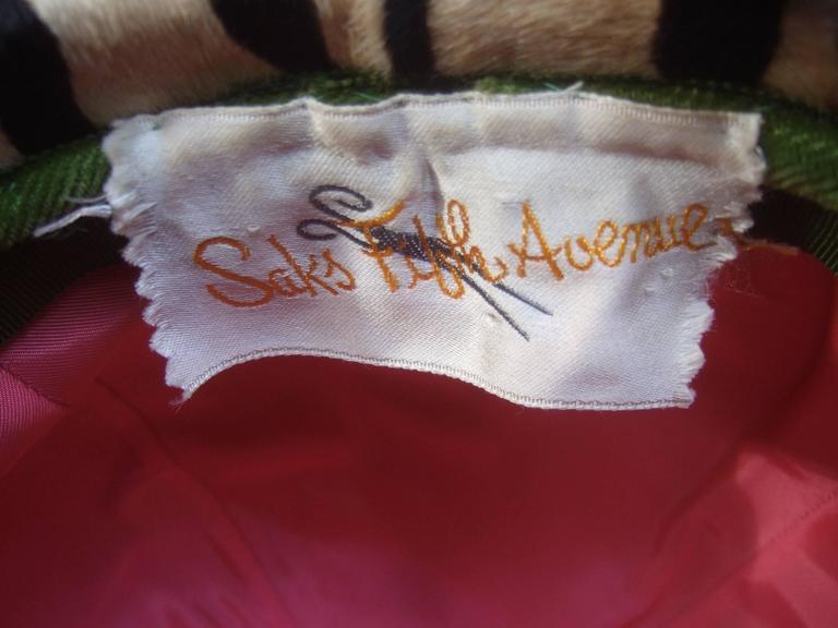 Saks Fifth Avenue Exotic Zebra Pony Hair Hat c 1970 For Sale 5