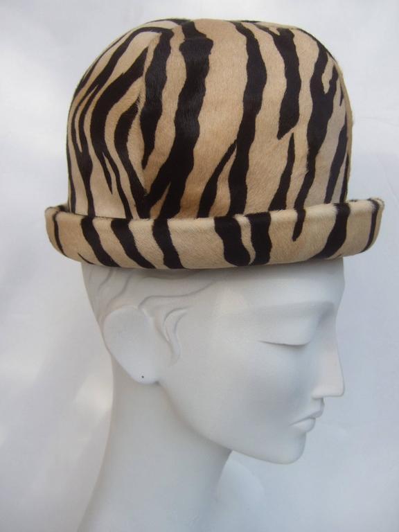 Saks Fifth Avenue Exotic Zebra Pony Hair Hat c 1970 In Good Condition For Sale In Santa Barbara, CA