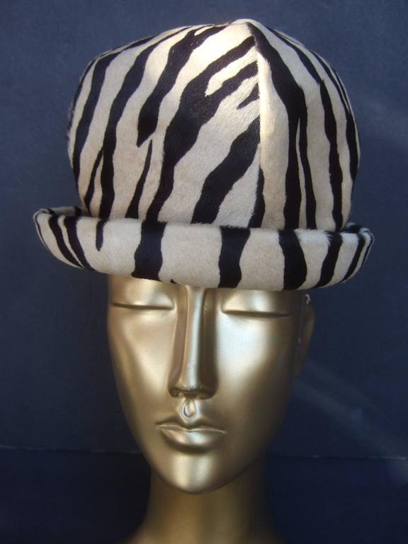 Gray Saks Fifth Avenue Exotic Zebra Pony Hair Hat c 1970 For Sale