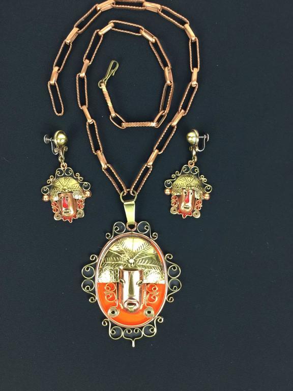 Amazing Tribal Mixed Metals Mexican Set. 1950's. 10