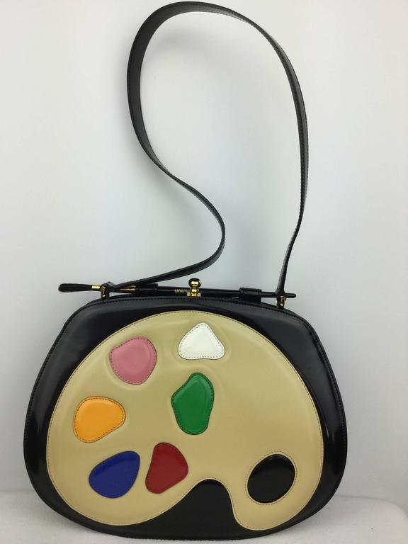 Rare Moschino Artist's Palette Handbag. 1990's. In Excellent Condition For Sale In Santa Barbara, CA