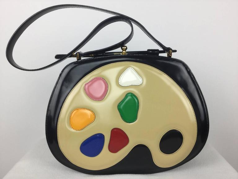 Rare Moschino Artist's Palette Handbag. 1990's. For Sale 5
