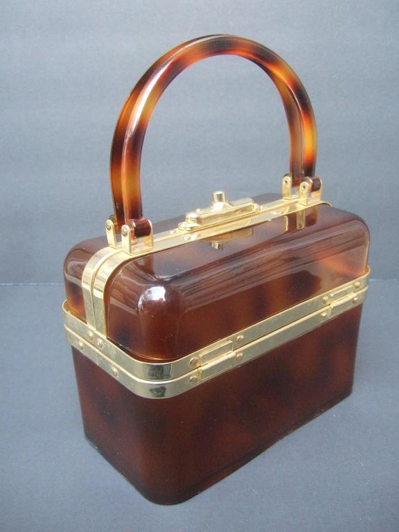 Sleek Tortoise Shell Lucite Handbag Made in France c 1970 9