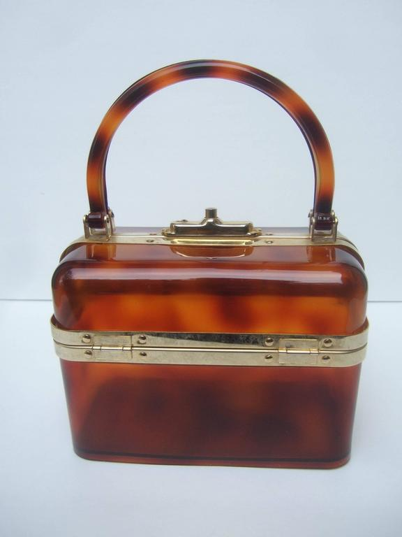 Sleek Tortoise Shell Lucite Handbag Made in France c 1970 7