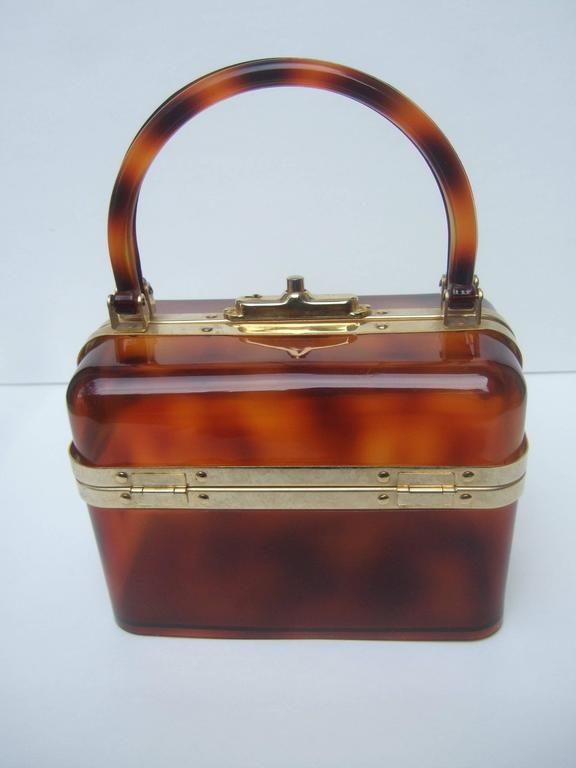 Sleek Tortoise Shell Lucite Handbag Made in France c 1970 3