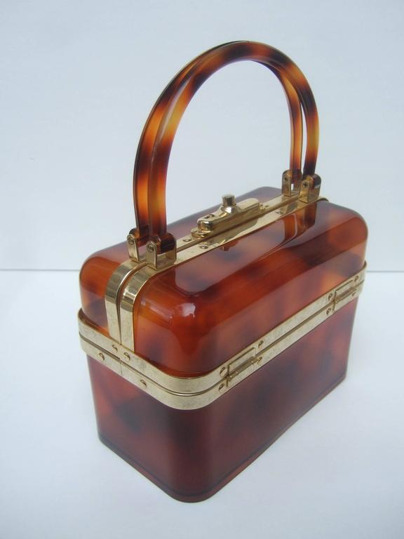 Sleek Tortoise Shell Lucite Handbag Made in France c 1970 4