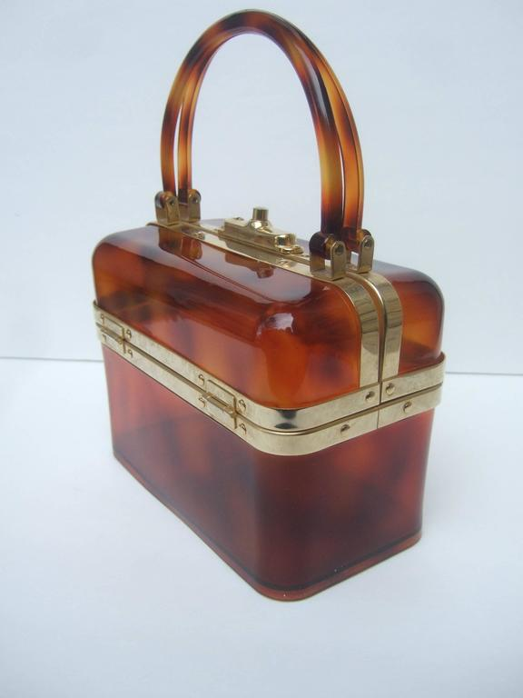 Sleek Tortoise Shell Lucite Handbag Made in France c 1970 2