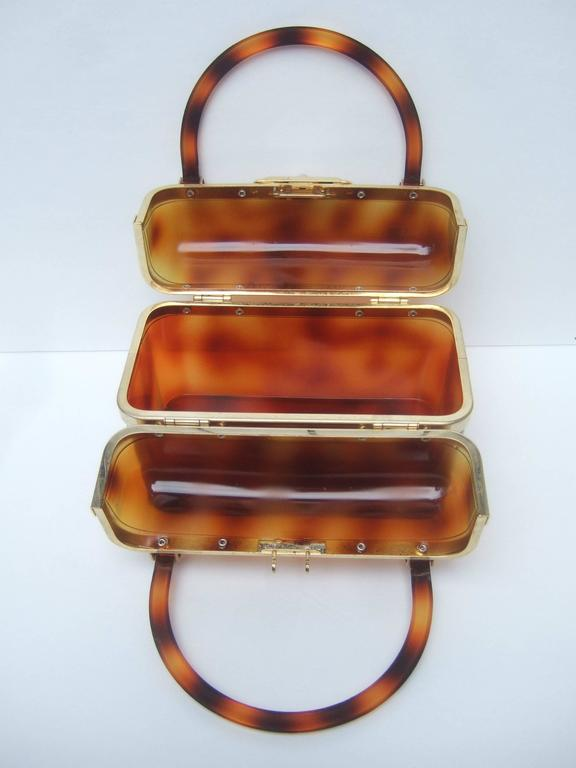 Sleek Tortoise Shell Lucite Handbag Made in France c 1970 6