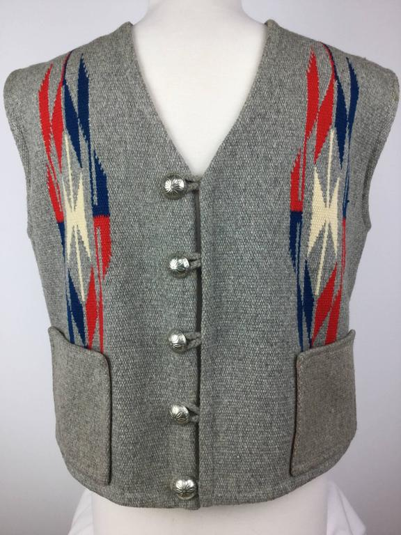 1950's Native American style men's wool vest made from a hand woven 