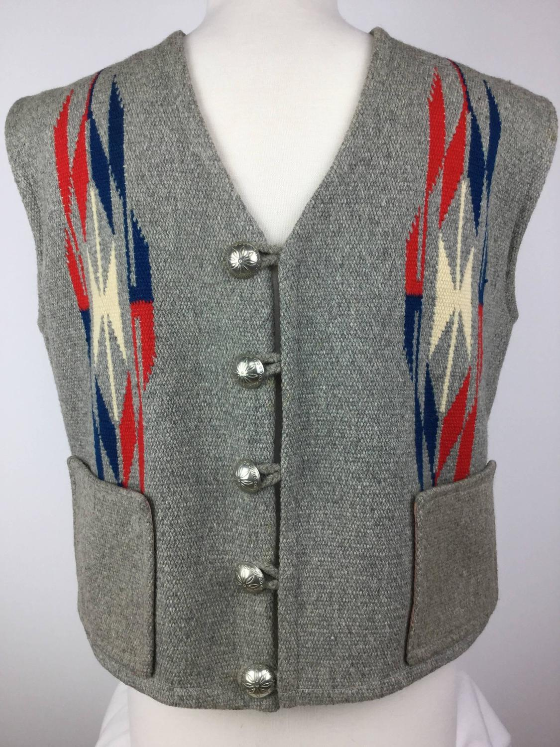 Men S Chimayo Wool Vest With Concho Buttons 1950 S For