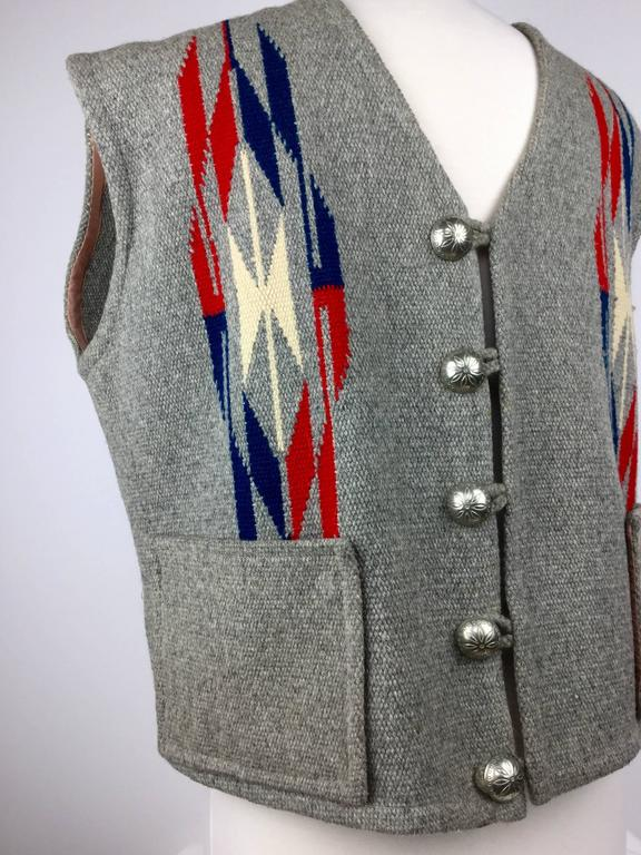 Men's Chimayo Wool Vest with Concho Buttons.  1950's. In Good Condition For Sale In Santa Barbara, CA