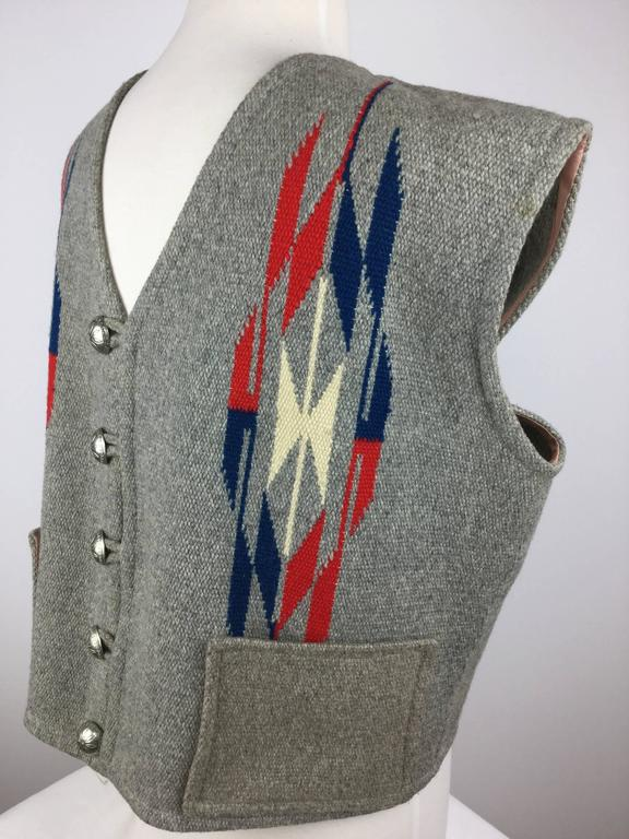 Men's Chimayo Wool Vest with Concho Buttons.  1950's. For Sale 2
