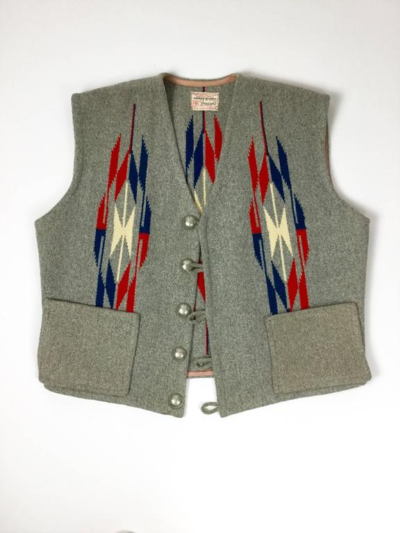 Men's Chimayo Wool Vest with Concho Buttons.  1950's. For Sale 3