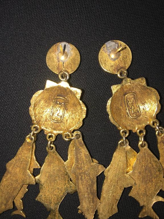 Gorgeous Yves Saint Laurent Fish Earrings.  1990's. 7