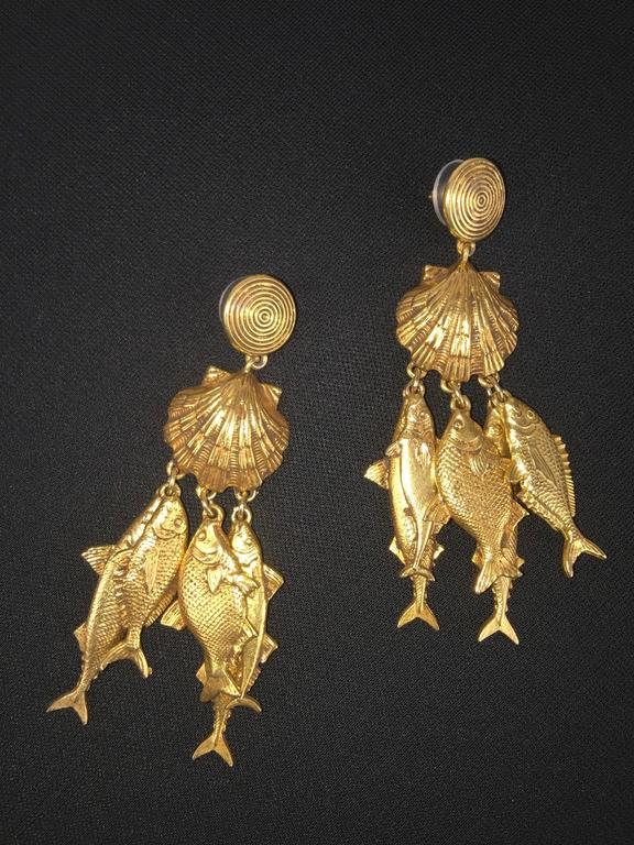 Gorgeous Yves Saint Laurent Fish Earrings.  1990's. 5