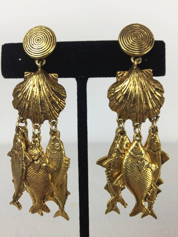 Gorgeous Yves Saint Laurent Fish Earrings.  1990's. 8