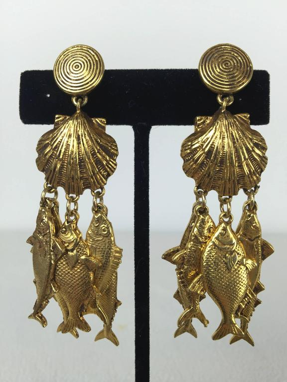 Gorgeous Yves Saint Laurent Fish Earrings.  1990's. 3