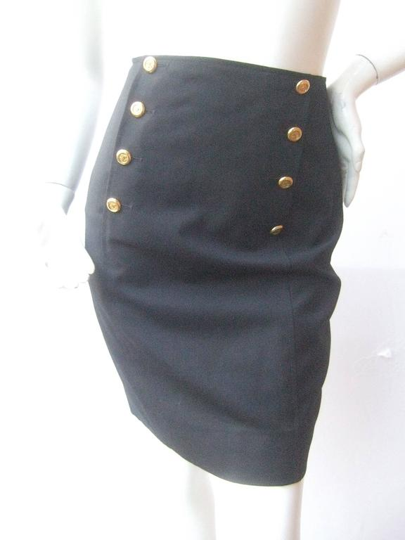 Chanel Boutique Dark Blue Wool Pencil Skirt with Chanel Buttons c 1990s 9