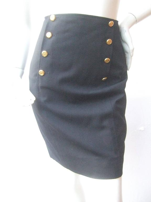 Chanel Boutique Dark Blue Wool Pencil Skirt with Chanel Buttons c 1990s 2