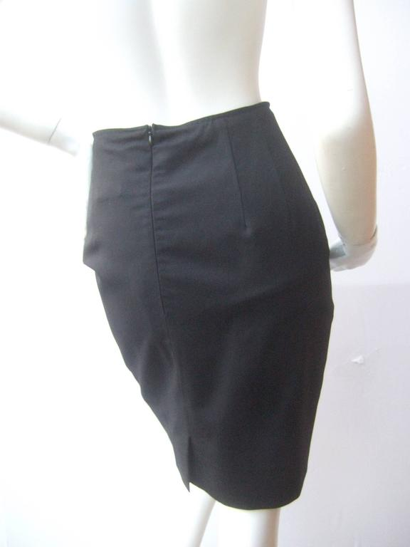 Chanel Boutique Dark Blue Wool Pencil Skirt with Chanel Buttons c 1990s 10