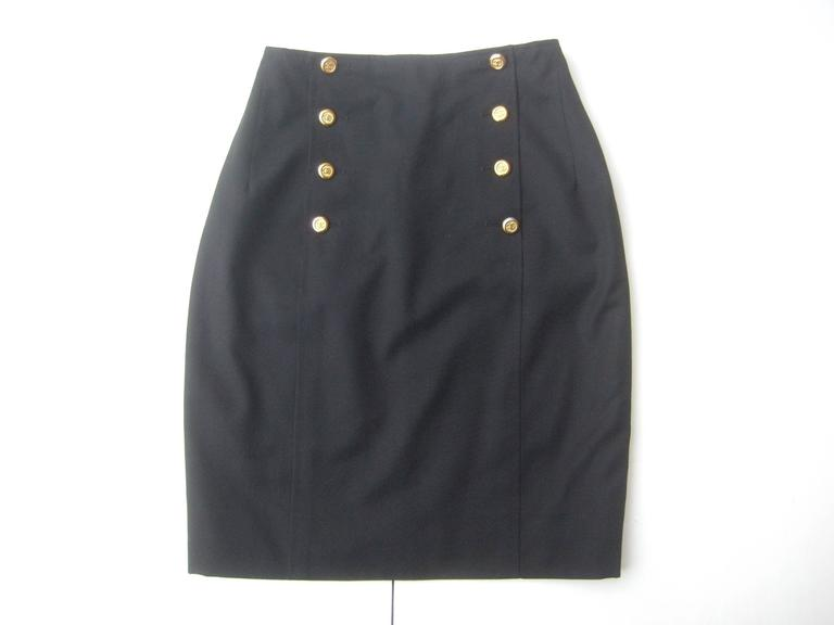 Chanel Boutique Dark Blue Wool Pencil Skirt with Chanel Buttons c 1990s 5