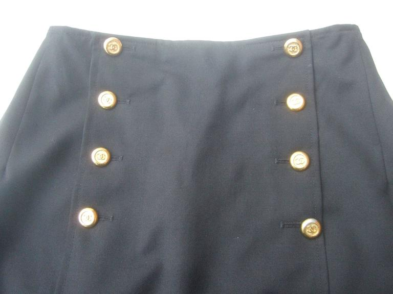 Chanel Boutique Dark Blue Wool Pencil Skirt with Chanel Buttons c 1990s 7
