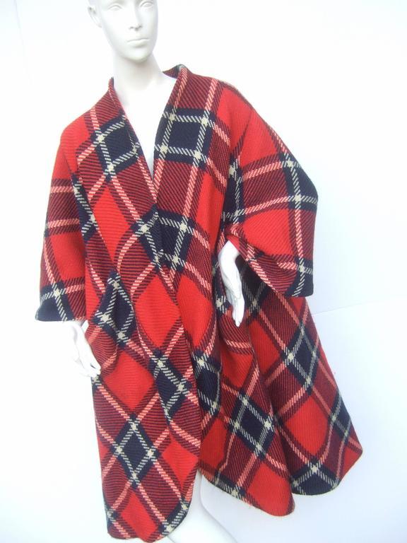 Brown 1960s Pauline Trigere Mod Plaid Wool Swing Coat  For Sale