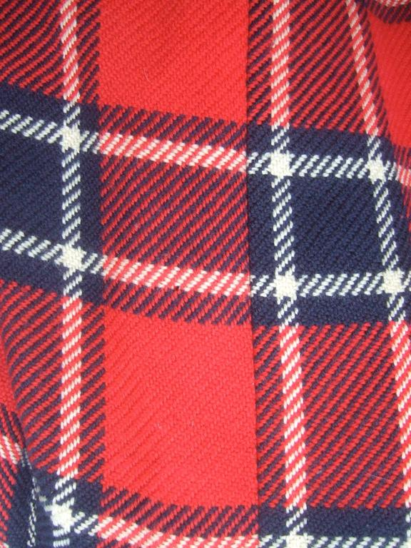 1960s Pauline Trigere Mod Plaid Wool Swing Coat  For Sale 1