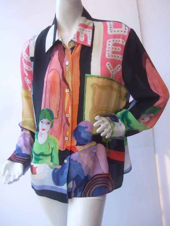 Unique Silk Beaded Graphic Print Blouse c 1990s For Sale 2