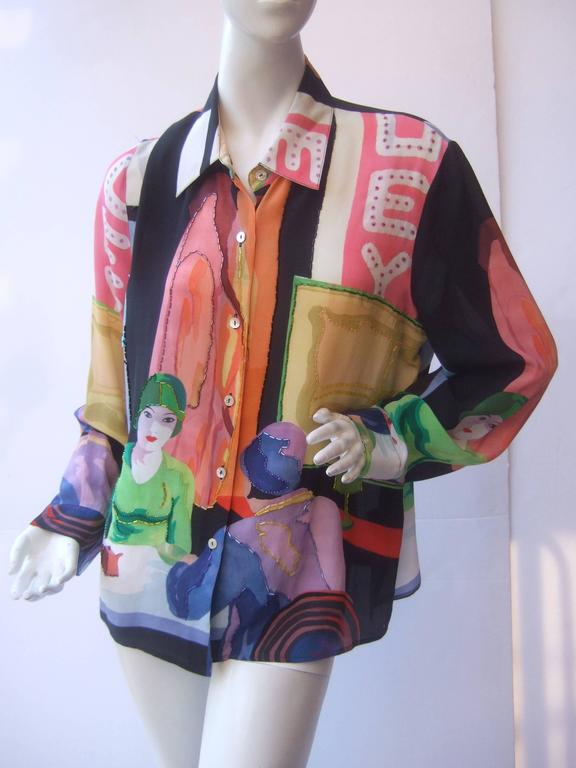 Women's Unique Silk Beaded Graphic Print Blouse c 1990s For Sale