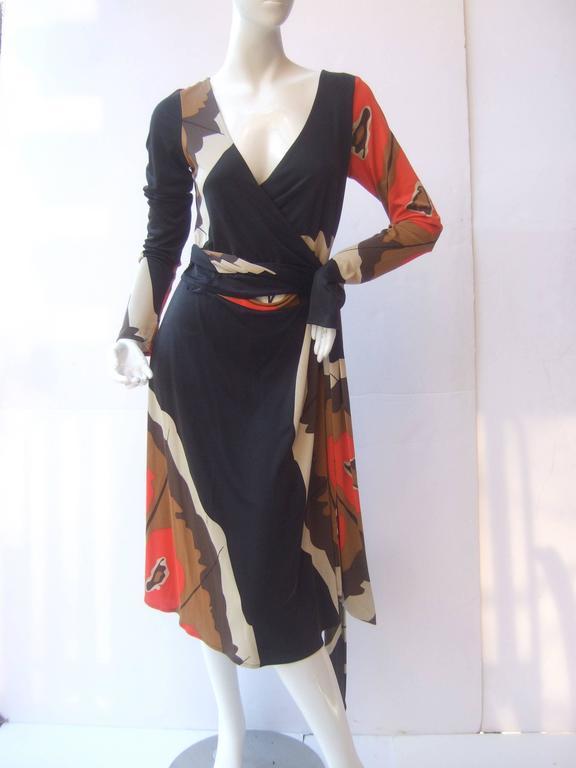 Opt Art Graphic Print Silk Jersey Wrap Dress By Issa