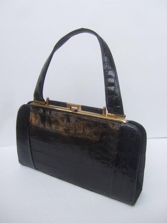 Sleek Ebony Alligator Vintage Handbag ca 1960 For Sale 1