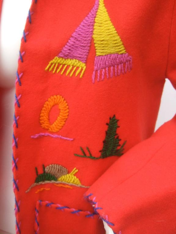 Mexican Red Felt Wool Embroidered Jacket ca 1950s  For Sale 4