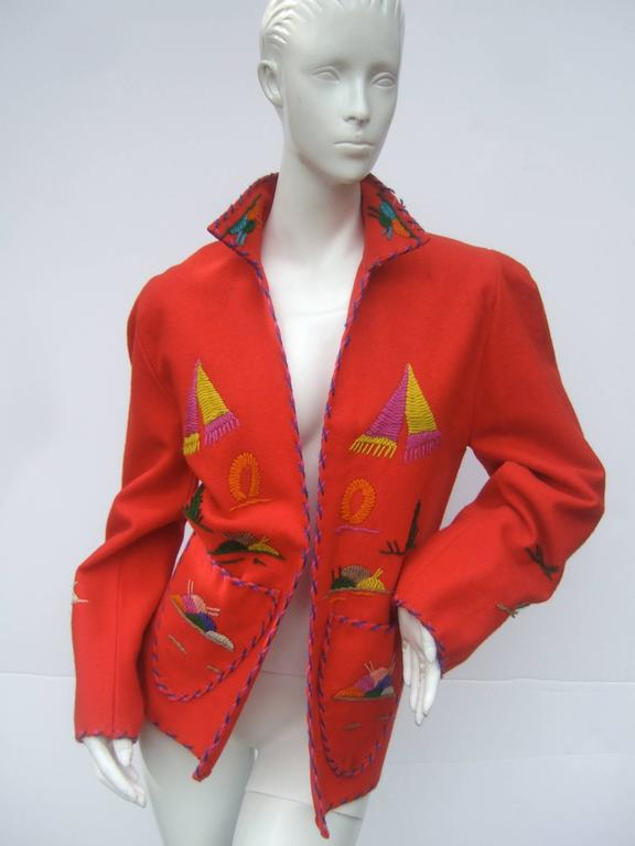 Women's Mexican Red Felt Wool Embroidered Jacket ca 1950s  For Sale