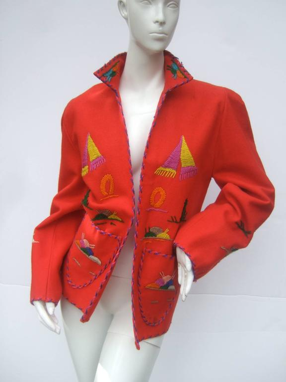 Mexican Red Felt Wool Embroidered Jacket ca 1950s  For Sale 2
