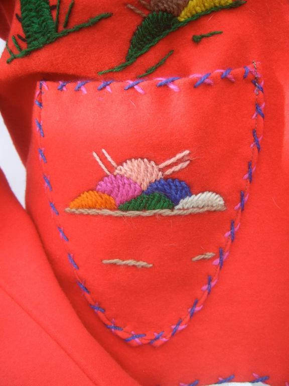 Mexican Red Felt Wool Embroidered Jacket ca 1950s  For Sale 5