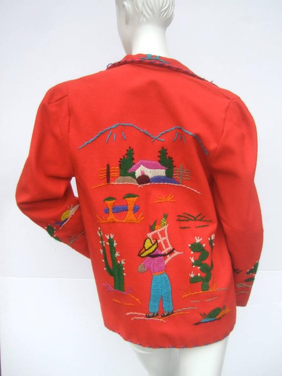 Mexican Red Felt Wool Embroidered Jacket ca 1950s  For Sale 1