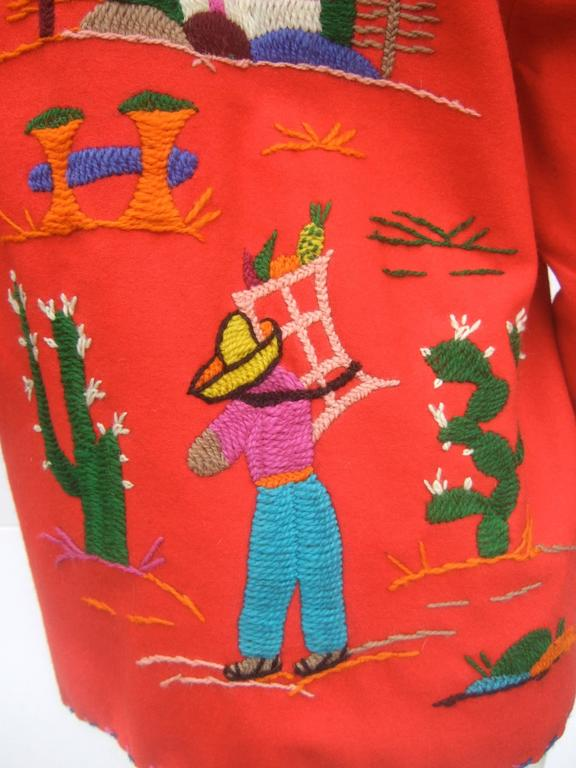 Mexican Red Felt Wool Embroidered Jacket ca 1950s  For Sale 3