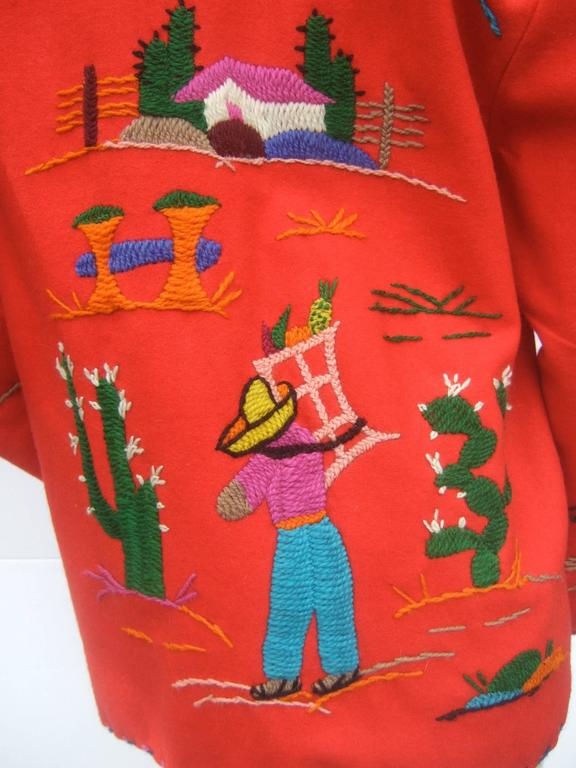 Mexican Red Felt Wool Embroidered Jacket ca 1950s  In Good Condition For Sale In Santa Barbara, CA