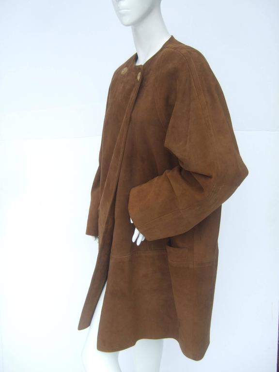 Jaeger Stylish Brown Doeskin Suede Duster Coat ca 1990s For Sale ...