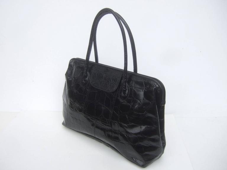 Furla Italy Black Embossed Leather Tote Style Handbag 4