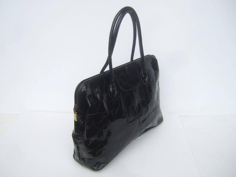 Furla Italy Black Embossed Leather Tote Style Handbag 5