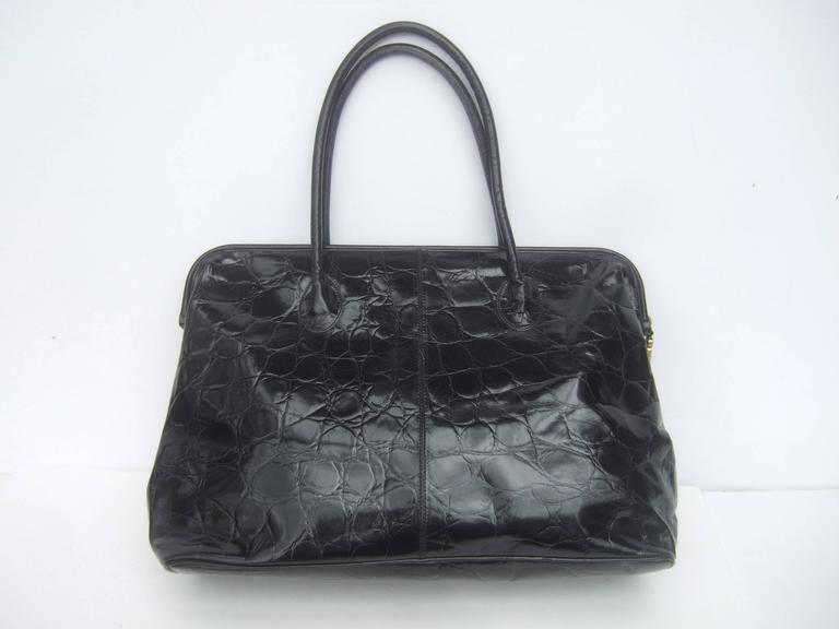 Furla Italy Black Embossed Leather Tote Style Handbag 6