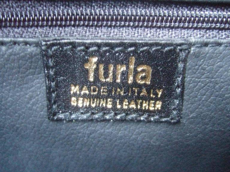 Furla Italy Black Embossed Leather Tote Style Handbag 8