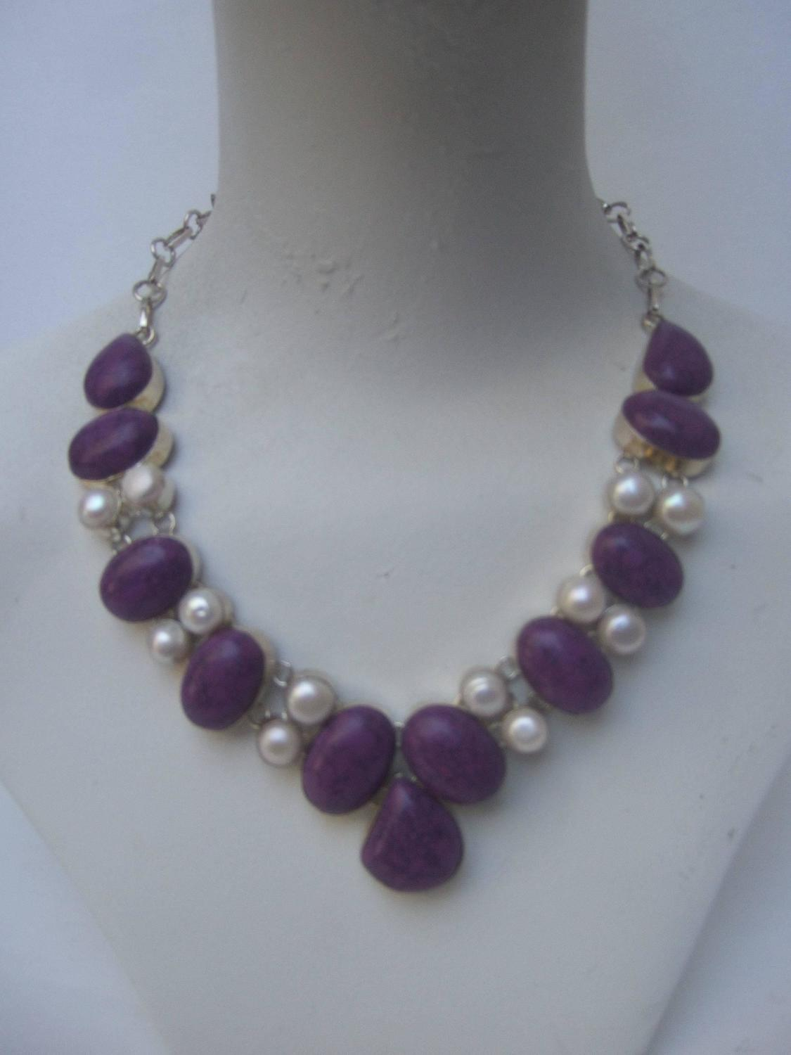 Sterling Artisan Purple Stone And Pearl Statement Necklace