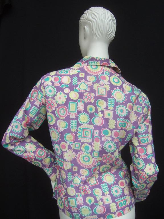 Women's Emilio Pucci Cotton Pastel Print Blouse Made in Italy c 1970 For Sale